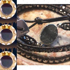 🌲🎁 • Nakamol Wrap Bracelet W/Black Druzy Accent